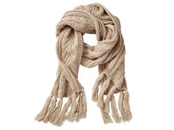 Women's Premium Cable PomPom Scarf