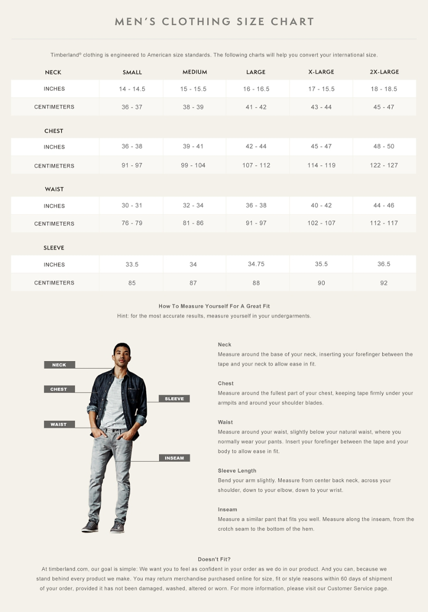 Timberland Footwear and Clothing Size Charts | Timberland NZ